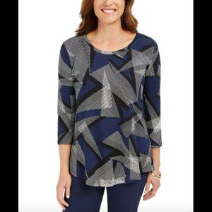 Jm Collection Women's Top Geometric Printed, NwT